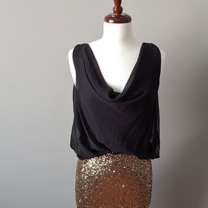 Gold Sequin Dress w/Draped Black Top